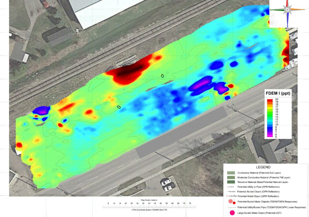Informative Image displays a topographic view of a colour contour map that showcases the results generated from the Ground Penetrating Radar (GPR) road imaging and geophysics survey performed on this project site. Colour shade from blue to green and to red, with the red areas indicating targeted features identified from the geophysical services performed on the project site.