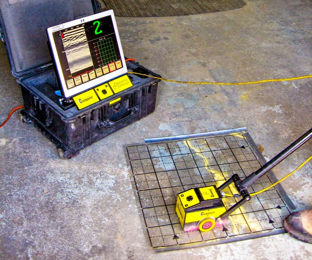 Scanning concrete with Ground Penetrating Radar (GPR) produces data in real-time.