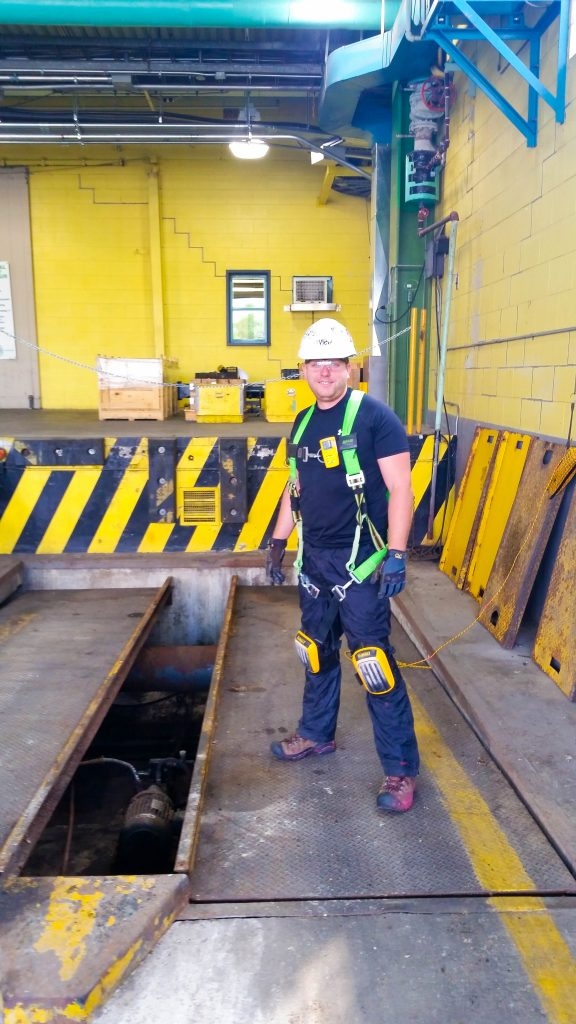 Safety first! Subsurface/Geophysical Technician Scott Schreiber is outfitted with PPE prior to scanning concrete.