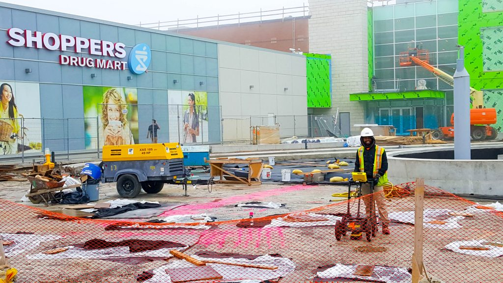 Carrying out a Ground Penetrating Radar (GPR) scan at Yorkdale Shopping Centre.