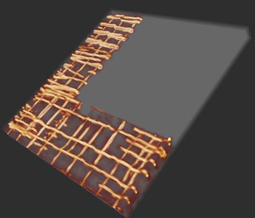 Rebar in a concrete slab is depicted in 3D after a scan using Ground Penetrating Radar.