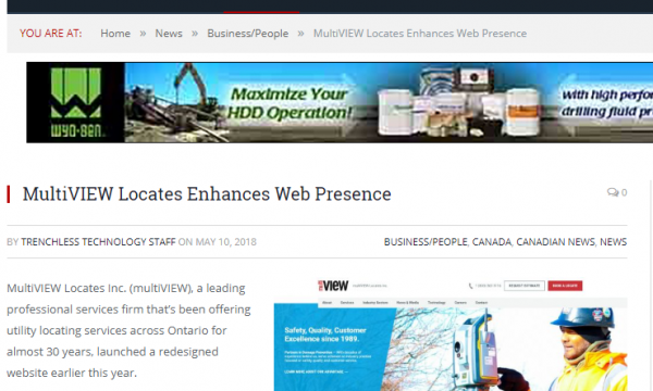 multiVIEW Locates website launch featured in Trenchless Technology Magazine