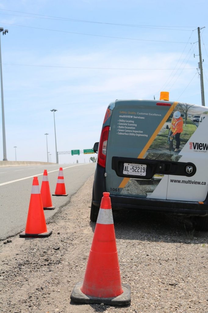 Subsurface Utility Engineering on Highway 410 - just north of Brampton, ON.