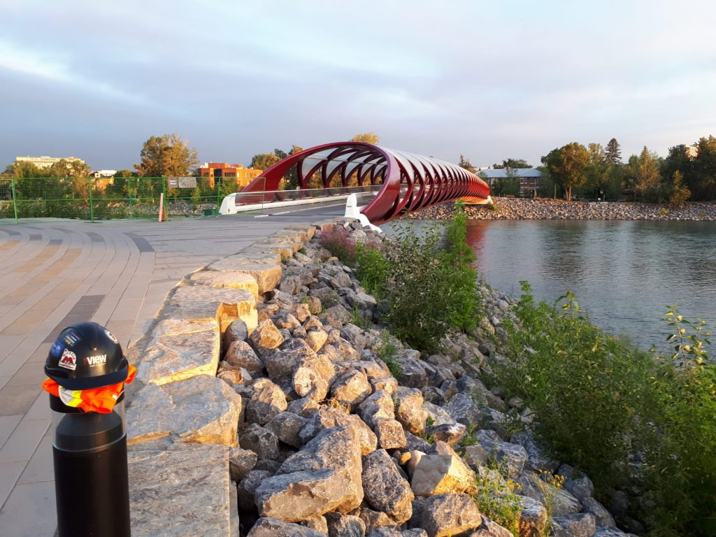 Utility Locating in Calgary, Alberta.  Stopped to take a picture of the Peace Bridge.