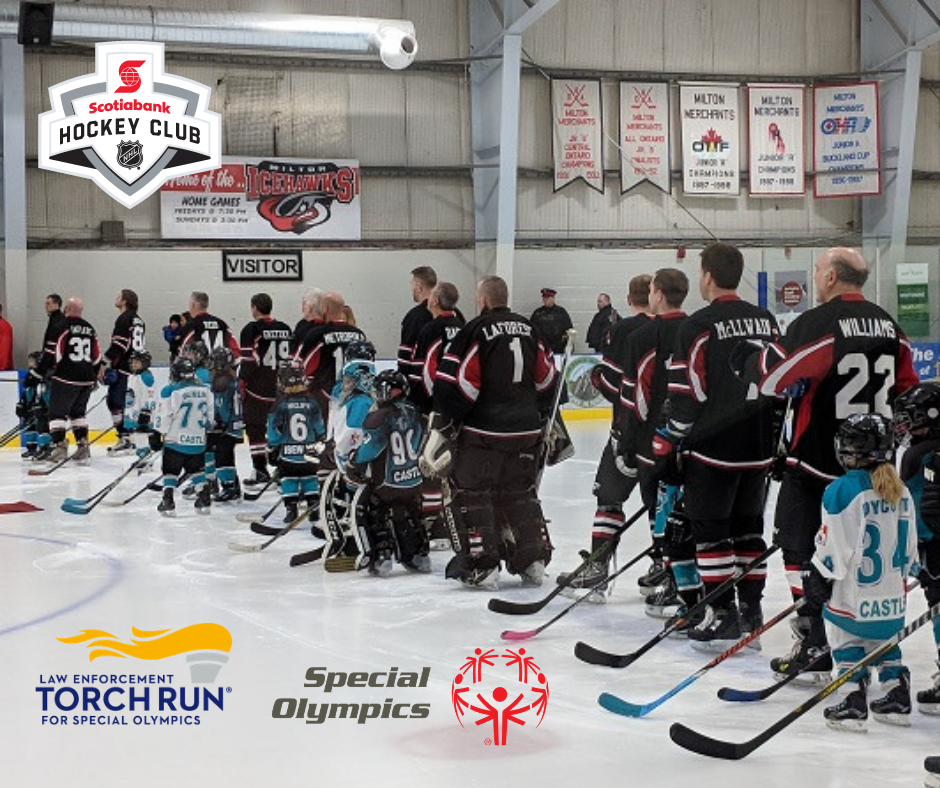 Informative Image of a multiVIEW Corporate Social Responsibility initiative. The image represents multiVIEW donation towards the Special Olympics team up Law Enforcement Torch Run which was hosted by Scotiabank NHL Hockey Club.