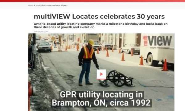 Canadian Underground Infrastructure and Heavy Equipment Guide announce multiVIEW's 30th anniversary