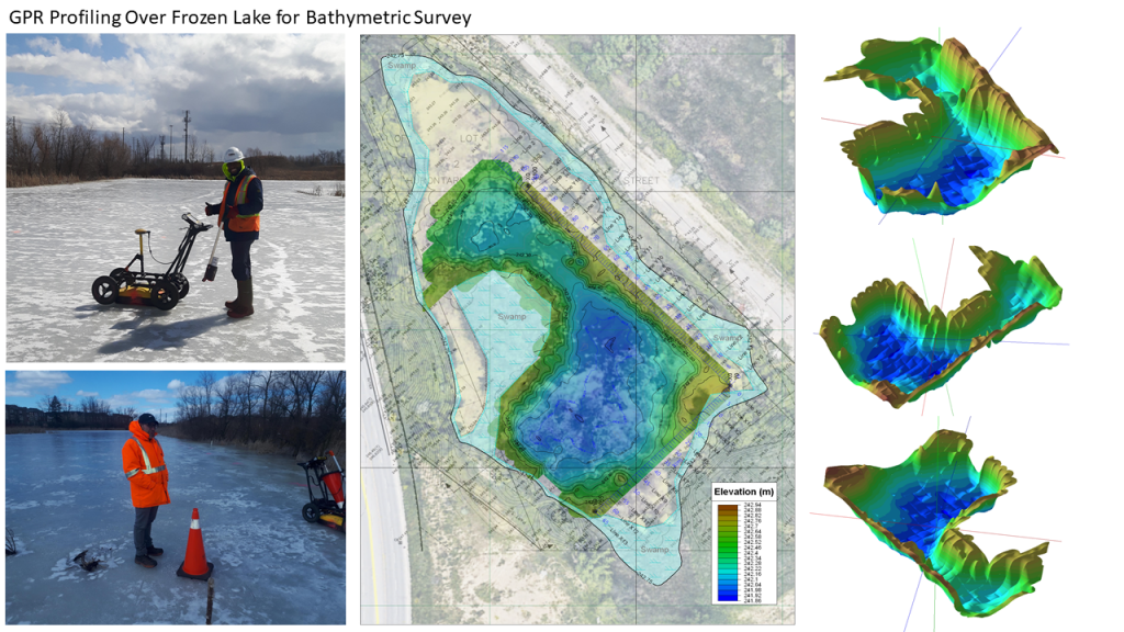 multiVIEW was pleased to map topographic contours beneath a frozen pond, using Ground Penetrating Radar (GPR)