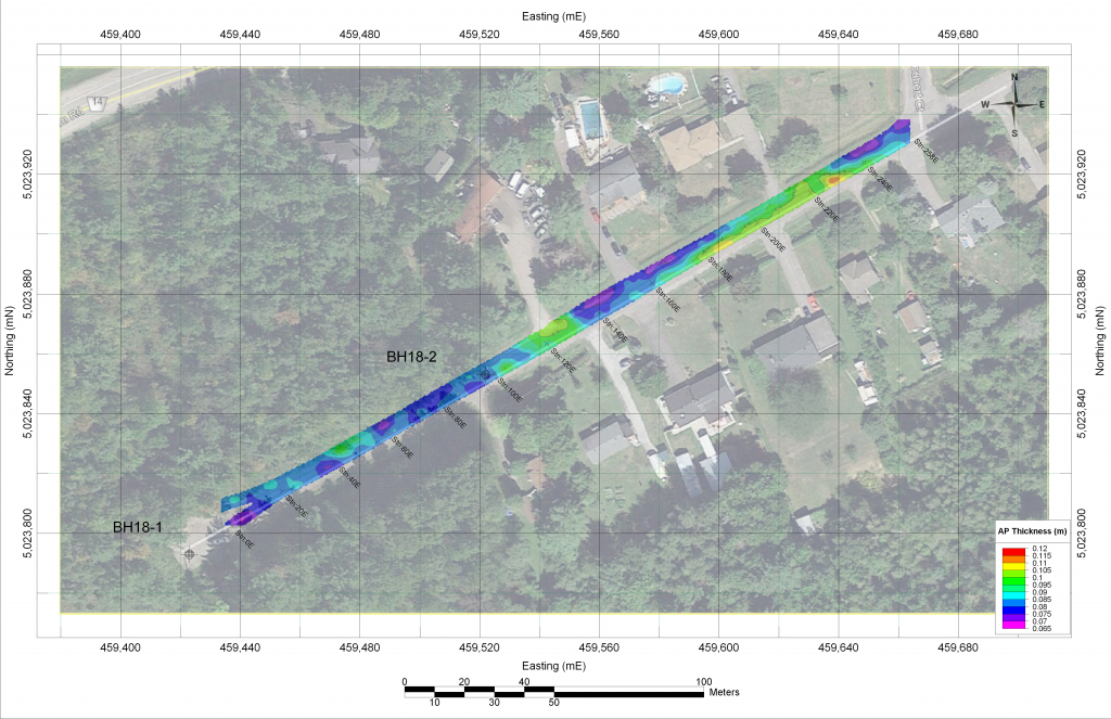 Informative Image of multiVIEW servicing Ottawa area. This topographic map effectively displays the asphalt thickness and subsurface conditions of the road structure analysis multiVIEW completed using Ground Penetrating Radar (GPR) at 53 sites throughout the City of Ottawa.