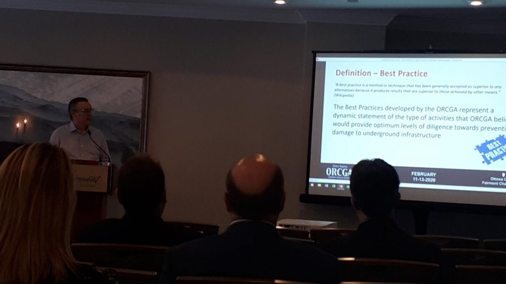Gord Campbell delivers a presentation on the Evolution of Best Practices at the 2020 ORCGA Damage Prevention Symposium