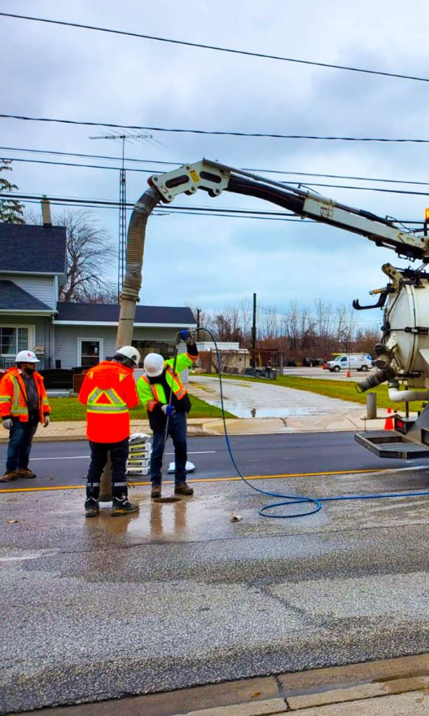 The multiVIEW team completes test pits to expose underground utilities.