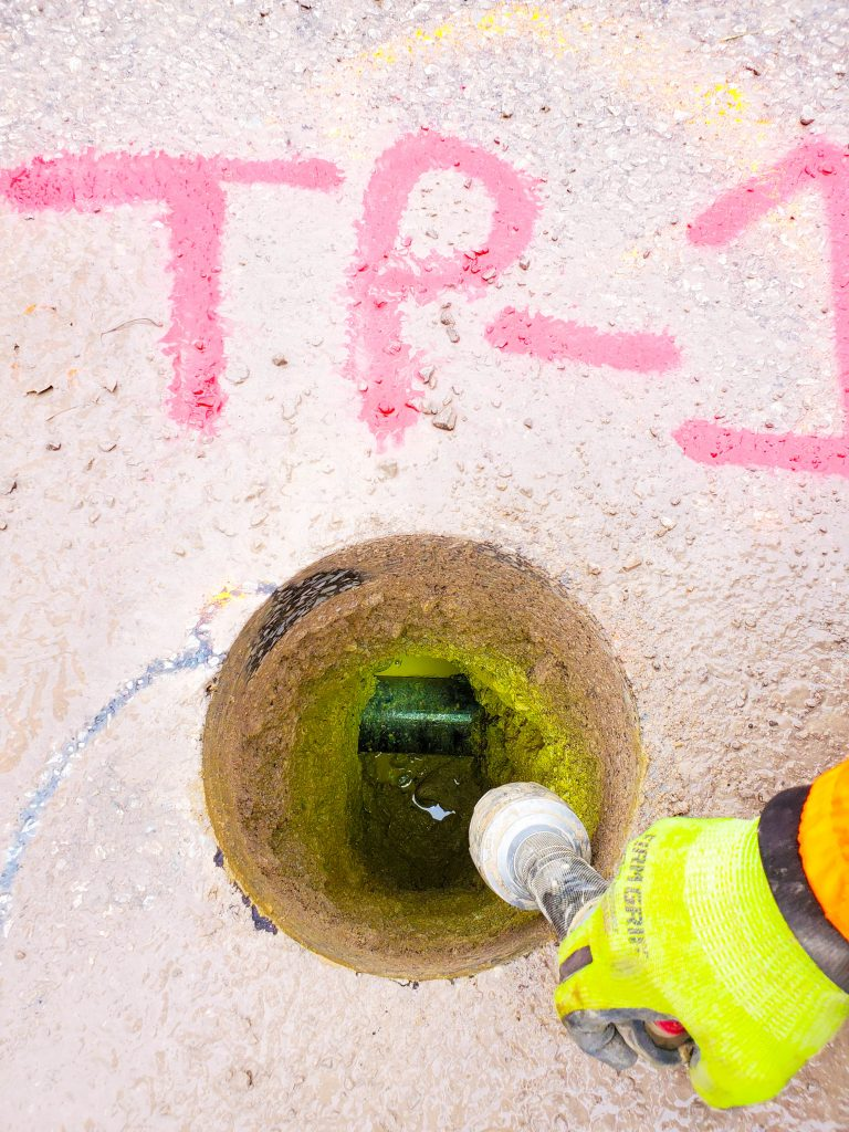 multiVIEW marks buried utilities and completes test pits as part of a Subsurface Utility Engineering (SUE) project.
